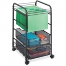 Oynx Mesh Open File Cart with Drawers