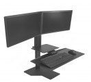 Sit2Stand Workstation - Black, Two Monitor