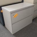 2 Drawer Light Grey Lateral Filing Cabinet