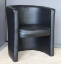 Used Round Black Leather Guest Chair